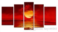 YIJIAHE Fashion Canvas Painting Art Red Sunset 5 Pictures Pr...