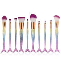 10 teile / satz Regenbogen Meerjungfrau Pinsel Make-Up Pinsel Set Gesichtscreme Power Foundation Pinsel Mehrzweck Schönheit Kosmetische Werkzeug Pinsel 2805122