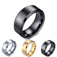 Joyas de anillo de tungsteno clásico de alta calidad 8mm Ancho Defend Scratch Bandas de boda decente para hombres Tamaño 7-12