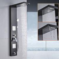 Panneau de douche mural en acier inoxydable avec 5 fonctions de pluie, cascade, poignée de douche, jets de massage, baignoire, bec, baignoire, colonne de douche