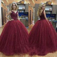 Burgundy Tulle Ball Gown Quinceanera Dresses V Neck Beads Ap...