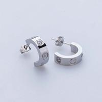Lady Fashion 316L Edelstahl Liebe Ohrstecker mit Schraube Kristall Ohrringe für Frauen Männer Paare feine Schmuck Großhandel