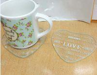 무료 배송 200pcs / 100set 하트 러브 글라스 컵 코스터 컵 매트 결혼 선물 생일 선물 생일 선물
