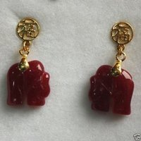 lovely Red ruby jade carved elephant 18K GP earrings