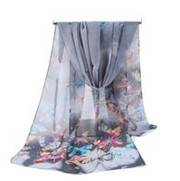 Billig Großhandel Silk Chiffon Schal Frauen Lange Schals 2017 Neue Schmetterling Tier Printe Sarong Wrap Strandabdeckung 160 * 50 cm