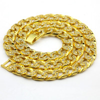 Men' s New Yellow Gold Finish Iced Out Crystal Cuban Nec...