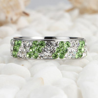 Engagement Wedding Green And White Color Women' s Rings ...