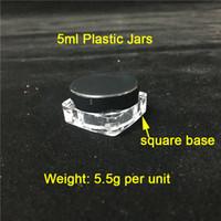 Barato 5 ml / g Tampas Pretas Base Quadrada Recipientes De Plástico Frascos De Fumo Atacado Recipientes De Cera De Plástico Na Venda Frete Grátis Para o Mundo Inteiro