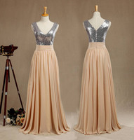 Sequined mix Chiffon Bridesmaid Dress V neck V back A line P...