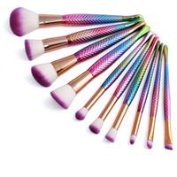 Cepillos de maquillaje de Sirena caliente establece cosméticos cepillo 10 colores brillantes espirales 3D Herramientas de maquillaje colorido tornillo de unicornio DHL