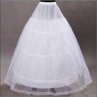 Gelin Örgün Elbise Stok Düğün Aksesuarları Balo Etek Crinoline için 2017 Yepyeni Petticoats Beyaz 3 Hoops Kemik Tam Jüpon