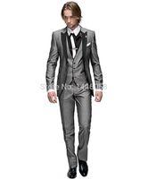 Toptan-2016 İtalyan Groomsmen Suit İş Custom Made Örgün Elbise Erkekler Düğün Erkekler 3 Parça Suit Slim Fit Damat Smokin Suits