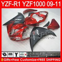 8gifts Cuerpo para YAMAHA YZFR1 09 10 11 YZF-R1 09-11 rojo brillante 95NO42 YZF 1000 YZF R 1 YZF1000 YZF R1 2009 2010 2011 TOP rojo negro Fairing