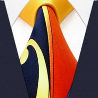 Padrão Q20 Amarelo Laranja Azul Mens Marinha Ties gravata 100% Silk Printing Handmade Nova