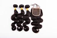 Feixes de cabelo virgem brasileiro com Fechamento 10-28 Extensões de trama Dupla Tingimento Do Cabelo Tece Encerramento Onda Do Corpo Ondulado cabelo humano feixes