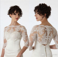 Новая мода невеста с длинным рукавом кружевной пиджак белый / слоновая слоновая слоновая сметание болеро для свадебного платья вечеринка формальные вечерние вечерние обертывания