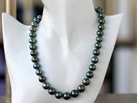 Joyas de perlas finas Tahitian Negro 10-12mm Círculo Positivo Mínimo Último Brillo Azul Pavo Real Sur Verde Collar de Perlas 19 pulgadas 925silver