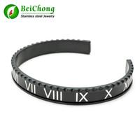 BC New Style Tacho Brazaletes Pulseras Weinlese überzog Armband für Männer Edelstahl-Stulpe-römischen Ziffern Armband