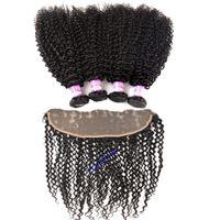Kulak Cephe Kapatma için 13x4 Kulak ile Moğol Kinky Kıvırcık Saç Paketler ile Dantel Frontal Kapatma Brezilyalı Virgin Saç İnsan Saç 3 Paketler