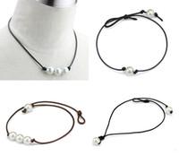 De nouvelles femmes simples et élégantes noué à la main des perles de haute brillance en cuir style punk tour de cou colliers