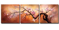 Framed 3PCS Pink Plum Blossoms Blooming In Golden Sky, Pure H...