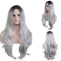 Peluca de pelo sintético Harajuku mujeres Sub-simulación de cuero cabelludo cuero cabelludo ondulado a prueba de calor largo negro gris de gradiente para la fiesta de Halloween