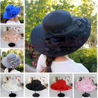 Nueva mujer Kentucky Derby Wedding Church Party Floral Sombrero elegante de ala ancha sol verano sombreros Organza Sombreros para mujer 7 colores de calidad superior