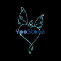 Cuore all'ingrosso del Rhinestone della farfalla del cuore sui trasferimenti Hot Fix Motif For Girls Tshirt