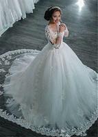 Incroyable tulle pure manches longues bijou jolis robe de bal de balles robes de mariée avec des robes de mariée en dentelle perlée