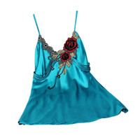 Al por mayor-Las mujeres de seda camisón correa de espagueti bordado sexy correa de espagueti camisón de color sólido ropa de noche de calidad falsa salón de seda