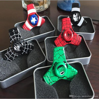 The Avengers Captain America Fidget Spinner Metal Spinner à main Alloy Finger Spinner Tri Spiner Anti Stress Toys pour l'autisme / ADHD
