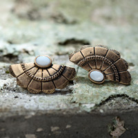 Natural shell Stud Earrings Antique Copper Silver Sector Sha...
