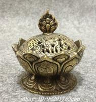 Tibet Sammeln Bronze Glückverheißende Lotusform Statue Box Weihrauch Räuchergefäß