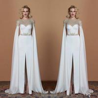 Einzigartiges Design Weiß Perlen Abendkleider Mit Offenen Langen Ärmeln Satin Front Split Prom Kleider Bodenlangen