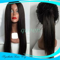 silky straight Lace Front Synthetic Wigs Straight with Natur...