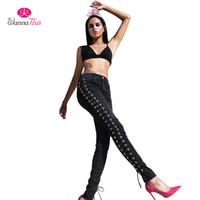 All'ingrosso- WannaThis 2017 Nuovo progettato laterale Lace Up Jeans skinny donne matita pantaloni denim sexy scava fuori paillettes moda ragazza Streetwear