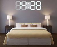 Toptan-Akrilik 3D Beyaz Büyük Modern Dijital Led Duvar Saati Zamanlayıcı 24/12 Saat Gösterge 30.8x 12x 0.7cm