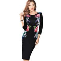 New Fashion Womens Elegante Vintage Floral Blume Gedruckt Abnehmen Tunika Lässige Party Bleistift Mantel, Figurbetontes Kleid