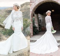 2018 Two Pieces Mermaid Wedding Dresses Cheap Long Sleeves L...
