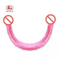 45 cm Super largo cabezal doble Les Dildos Dongs Flexible Artificial Pene Dildo para juguetes de sexo lesbiana Productos para adultos