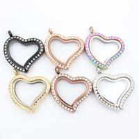 Support Panpan pour médaillon flottant en forme de cœur tordu avec cristaux 100% pendentif médaillon magnétique en acier inoxydable