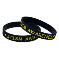 100PCS Autism Awareness Silicone Rubber Bracelet Puzzle Logo Debossed and Filled in Color for Promotion Gift