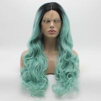 Iwona pelo ondulado largo oscuro raíz azul claro Ombre peluca 5 # 1B / 5412 media mano atada resistente al calor del cordón sintético frente peluca