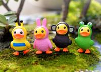 4 pcs bande dessinée canard jardin miniatures figurines ornements résine artisanat maison de poupée bonsaï décor terrarium decoracion jardin