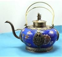 Концепция серебряного античная подпалить дракона phénix, которые проводятся Тибет серебряного théière ванной фарфор; Окво-0017 учебных пособий-де-Mariage Décoration собственной Лаитон
