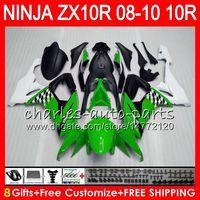8gifts 23 Colors Körper für Kawasaki ZX 10 R ZX10R 08 09 10 47HM7 Grün Weiß ZX 10R ZX1000 C ZX1000C ZX-10R 2008 2009 2010 Verkleidungsset