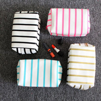 Cosmetic Bag Small Stripe Makeup Bag Black Gold Toiletry Bag...