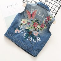 Everweekend Girls Floral Butterfly Embroidered Denim Vest Wa...