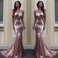 Розовые Золотые Русалки Вечерние платья 2020 Сексуальные Halter Sequins Длинные Платья Платья Формальная Вечеринка Носить дешевые Робины De Sooiree