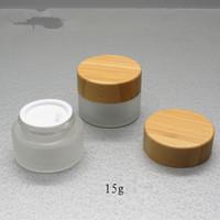 O envio gratuito de 15g frascos de creme fosco de vidro com tampa de bambu, frascos de 15 ml de vidro com tampas de bambu embalagens de cosméticos